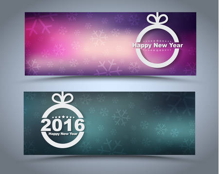 Design New Year banner with Christmas toys on a blurred background. Vector illustration. Set Illusztráció