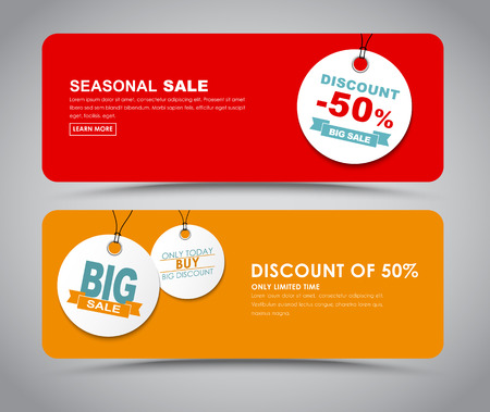 re: The design of red and orange banners for sale with white tags. Vector illustration. Set.