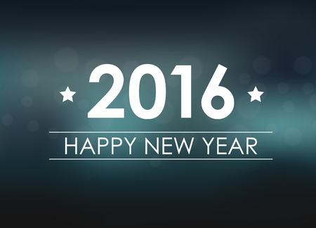 Design New Year banner (poster) with the text of 2016 on blurred blue background. Vector illustration Illusztráció