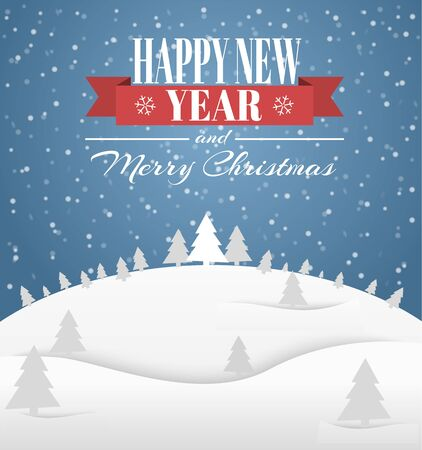 title emotions: Poster Design (card) Merry Christmas and a Happy New Year with a winter landscape and a ribbon with text. Vector illustration. Stock Photo