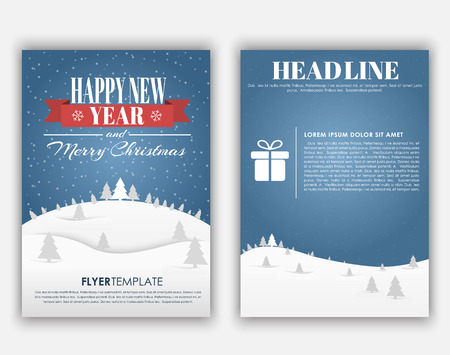Entwerfen Sie Weihnachts- und Neujahrsflieger mit einer Landschaft von Bergen, blauem Himmel und Schnee mit Weihnachtsbäumen. Vektor-Illustration Vektorgrafik
