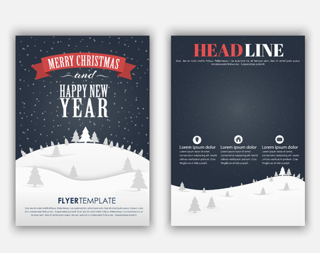 Design Christmas and New Year flyer with a landscape of mountains, night sky and snow with Christmas trees. Vector illustration