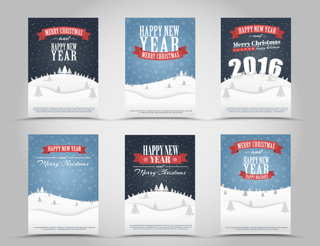 mountains and sky: Design Christmas and New Year flyer (brochure, poster) with a landscape of mountains, sky and snow with Christmas trees, 3D text of 2016; ribbons. Vector illustration. Set