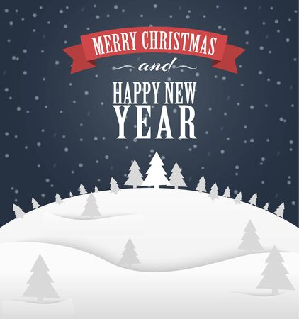 title emotions: Poster Design (card) Merry Christmas and a Happy New Year with a winter landscape and a ribbon with text. Vector illustration. Illustration
