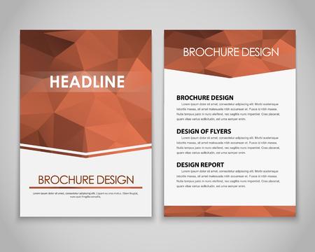 broun: Design brochures (flyers) with polygonal brown background. Vector illustration. Illustration