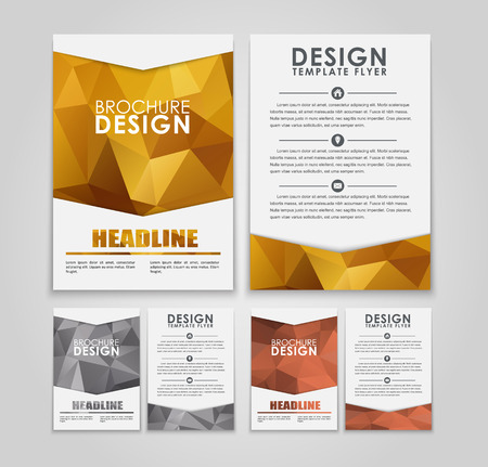 leaflets: The design of a polygonal pattern flyers (leaflets) in gold, silver and bronze style. Vector illustration. Set Illustration