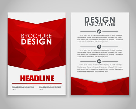 Design brochures (flyers) with polygonal red background. Vector illustration. Reklamní fotografie - 50010537