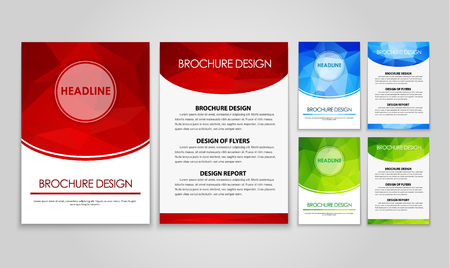 The design of a polygonal pattern flyers (brochure), blue, red and green. Vector illustration. Set