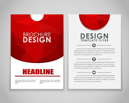 business card design: Design brochures (flyers) with polygonal red background. Vector illustration.