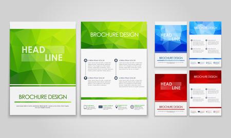 파란색, 빨간색, 녹색 다각형 패턴 전단지 (팜플렛)의 디자인. 벡터 일러스트 레이 션. 세트