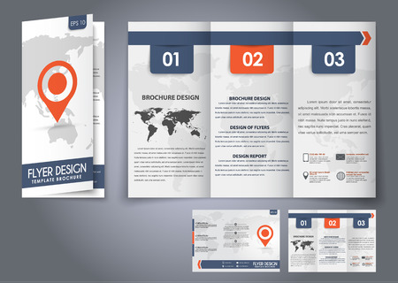 three pointer: Template design three fold flyer, brochure with the world map in the background and a marker for the map. Corporate style for presentation, advertising and printing. Vector illustration.