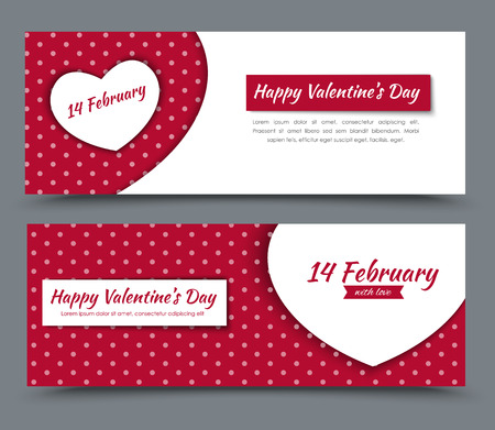 Das Design der roten und weißen Banner mit Herzen und Punkten auf dem Hintergrund der Valentinstag. Vektor-Illustration. Set. Vektorgrafik