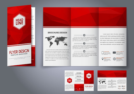 Design tri-fold flyers, brochures red polygonal elements. The corporate design for advertising, printing and presentation. Vector illustration. Vetores