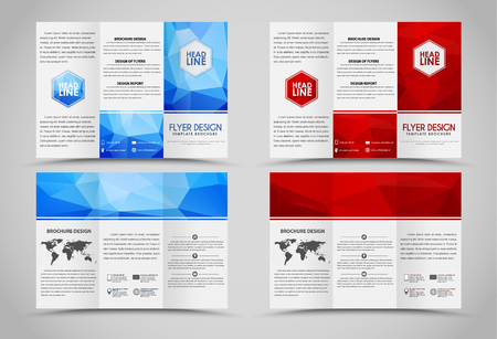Design folding brochures with red and blue polygonal backgrounds. Tri-fold brochure. Set.