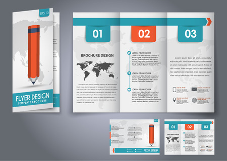 Template design three fold flyer, brochure with the world map in the background and a pencil. Corporate style for presentation, advertising and printing. Vector illustration.