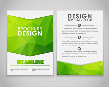 Design brochures (flyers) with polygonal green background. Vector illustration.