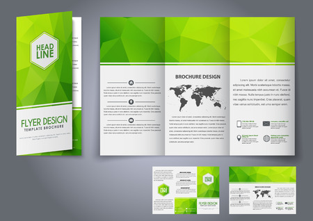 Design tri-fold flyers, brochures green polygonal elements. The corporate design for advertising, printing and presentation. Vector illustration. 矢量图像