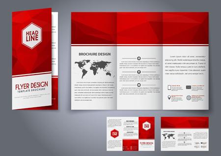 디자인 삼중 전단지, 브로셔 빨간색 다각형 요소. 광고, 인쇄 및 발표를위한 기업 디자인. 벡터 일러스트 레이 션.