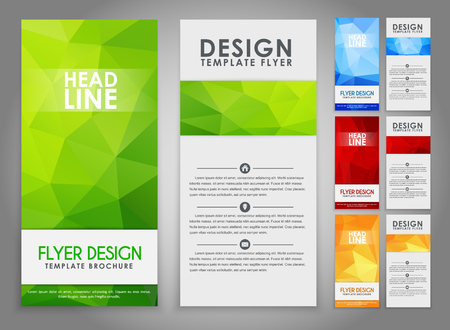 The design of a polygonal pattern flyers (brochure) orange, blue, red and green. Vector illustration. Set Vectores