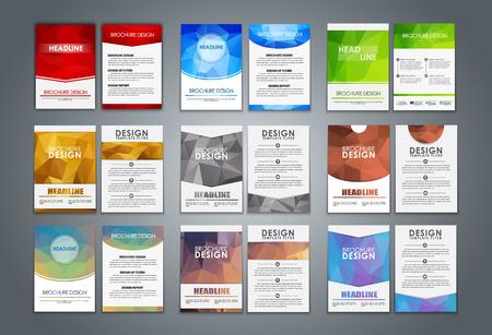 Un gran conjunto de folletos poligonales (volantes) para la publicidad, la presentación de informes, estilo corporativo. Ilustración del vector. Ilustración de vector
