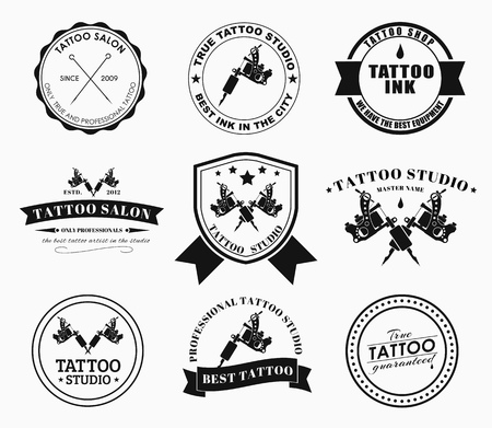 Set of logos on white background for tattoo parlors.