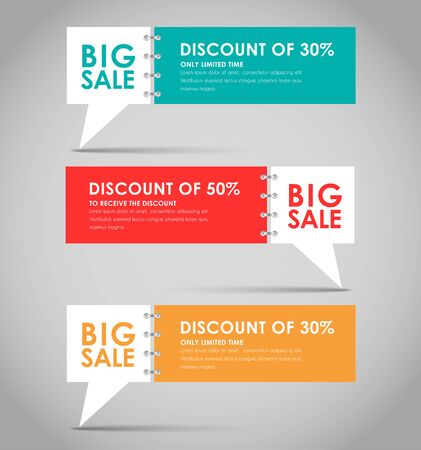 Set of quote bubble for big sales. illustration Vectores