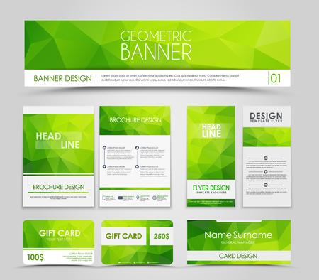 녹색 다각형 요소와 브로셔 및 카드 디자인. 기업의 정체성, 광고 인쇄. 삽화. 세트