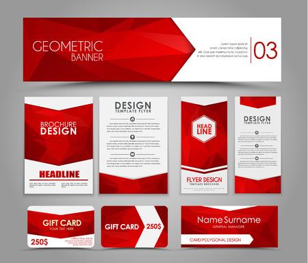 パンフレットやカードは赤の多角形要素のデザイン。コーポレート ・ アイデンティティ、広告印刷。イラスト。セット