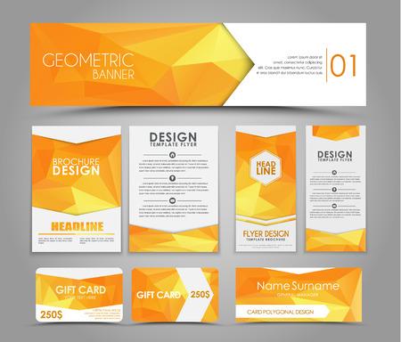 오렌지 다각형 요소와 브로셔 및 카드 디자인. 기업의 정체성, 광고 인쇄. 삽화. 세트