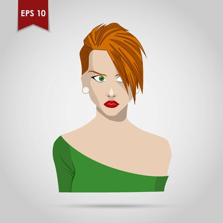 hairdo: Portrait of a beautiful young girl with a fashionable hairdo on a white background. Vector illustration