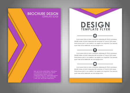 advertising material: brochure design, flyer, report with elements of material design in yellow and purple colors in the form of arrows. Corporate style for advertising and printing. Vector illustration