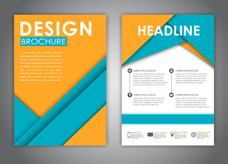 advertising material: Template flyer, brochure, report and print advertising. Material design with sheets of yellow and blue. Vector illustration