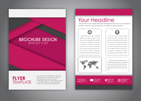 advertising material: brochure design, flyer, report with elements of material design burgundy and black. Corporate style for advertising and printing. Vector illustration