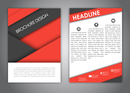 advertising material: brochure design, flyer, report with elements of the material design of red and black. Corporate style for advertising and printing. Vector illustration
