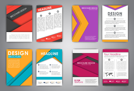 advertising material: Set (brochures) for advertising, print reports, or covers. Material design of different color sheets floating in the air with shadow. illustration