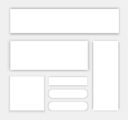 simulating: A set of web banners of different shapes hanging in the air at different heights, simulating a white sheet of paper with shadow. Material design. illustration