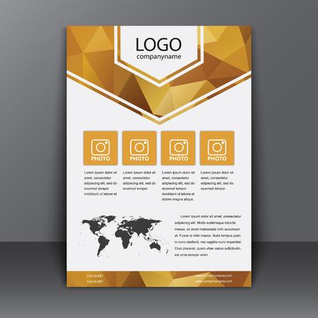 브로셔 템플릿 (표지, 포스터) 보고서 또는 광고 인쇄. 설명과 함께 다각형 황금 배경 및 세계지도입니다. 삽화