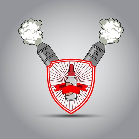 atomizer: The emblem in the shape of a shield and a steam atomizer for electronic cigarette, bytylochki with Fluid for electronic cigarettes. Vector illustration Illustration