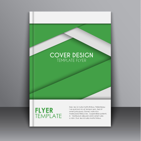 advertising material: cover template, brochure or flyer to corporate identity, report, or print advertising. Cover material in the style of design with green and gray sheets of paper with shadow. Vector illustration Illustration