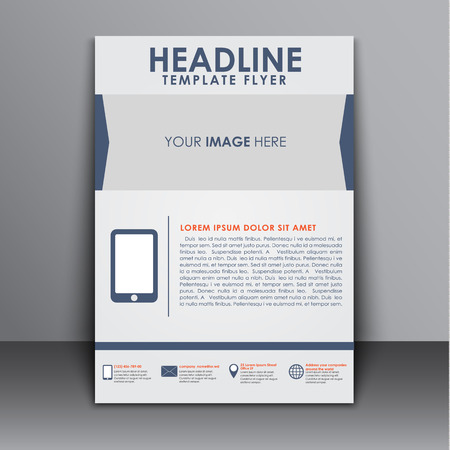 space for images: Design of flyers, brochures, reports, cover with space for images and smatfonom. Brochure for printing and advertising, corporate identity. Vector illustration