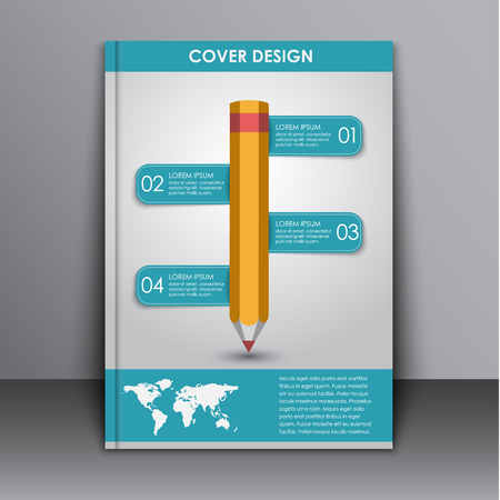 map pencil: cover design, flyer for advertising and printing. Flyer with a pencil and infographics and world map. Vector illustration