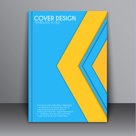 advertising material: Cover Template, brochures for the report, and print advertising. Cover material in the style design with blue and yellow elements in the form of arrows. Vector illustration Illustration