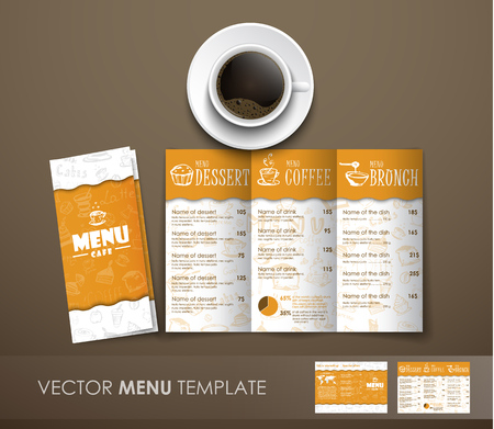 Design triple folding menu at the white-yellow color with hand drawings. Menu template for cafes, restaurants, shops. Mockup menu with a cup of coffee and a menu template. Vector illustration
