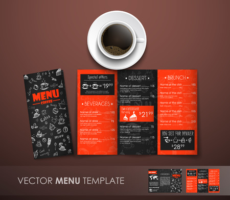 Design triple folding menu, black and red with elements of drawings by hand for cafes, restaurants and shops. Mockup  menu with a cup of coffee and a menu template. Vector illustration