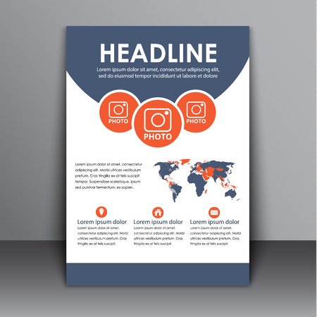 space for images: Template flyers, brochures, reports, cover with space for images and a map of the world. Flyer for the report, business, printing and advertising. Vector illustration Illustration