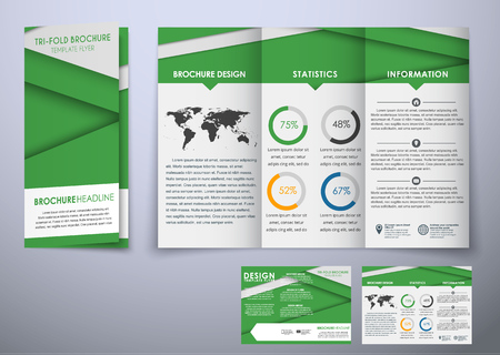 advertising material: Design triple folding brochure. Brochure material style design with world map and pie charts. Brochure templates for printing, advertising and business. Vector illustration Illustration