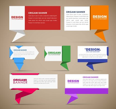 gree: Big set of web banners in origami style. Banner with leg for quotes, different colors and different shapes. Template origami banners for advertising. Vector illustration Illustration