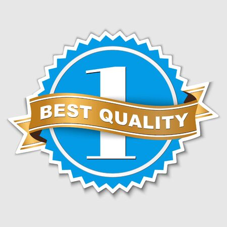 best quality: Sticker Design, Logo blue with wavy golden ribbon. Sticker with the numbers 1 to better product or content. Sticker mark of quality. Vector illustration