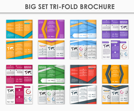 advertising material: Design triple folding brochure. A set of brochures in the style of the material design. Brochures in different colors for printing, advertising and business. Vector illustration. Set