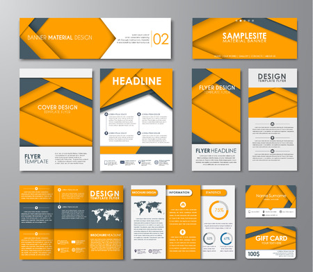 Template corporate identity of flyers, brochures, banners, folding brochures and gift card. Corporate design in the style of the material design with black and yellow sheets of paper. Vector